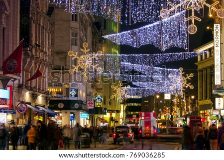 london uk december 4th 2017 christmas lights on coventry street in central - London Christmas Decorations