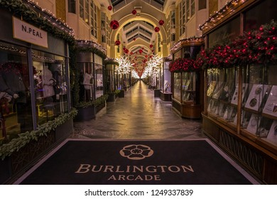 London, UK - December 4th 2018: A view of the beautiful Burlington Arcade in Mayfair, London, decorated with Christmas decorations.