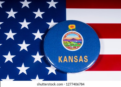 London, UK - December 4th 2018: The symbol of the state of Kansas, pictured over the flag of the United States of America.