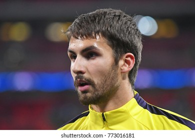 LONDON, UK - DECEMBER 6, 2017: Tottenham player pictured prior to the UEFA Champions League Group H game between Tottenham Hotspur and APOEL FC at Wembley Stadium.