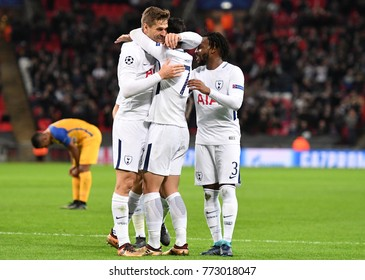 LONDON, UK - DECEMBER 6, 2017: Tottenham players celebrate a goal scored during the UEFA Champions League Group H game between Tottenham Hotspur and APOEL FC at Wembley Stadium.