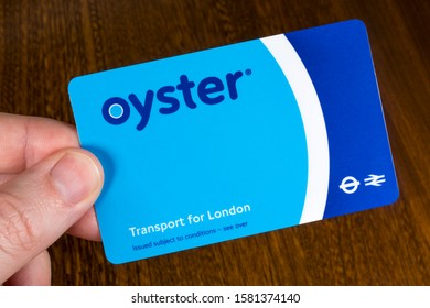 London, UK - December 6th 2019: Close-up of an Oyster Card.  The Oyster card is a payment method for public transport in London, UK.
