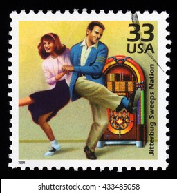 London, UK, December 7 2010 - Vintage 1999 United States of America cancelled postage stamp showing an image of the 1950's Jitterbug dance