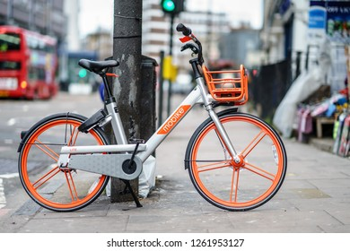 London, UK - December 8th, 2018 : Mobike is mobile bike app, one of the bike in London Camden town