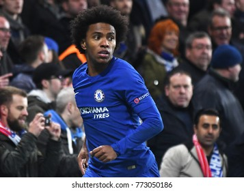 LONDON, UK - Decemebr 5, 2017: Willian pictured during the UEFA Champions League Group C game between Chelsea FC and Atletico Madrid at Stamford Bridge Stadium.