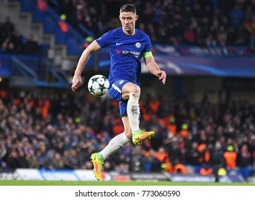 LONDON, UK - Decemebr 5, 2017: Gary Cahill pictured during the UEFA Champions League Group C game between Chelsea FC and Atletico Madrid at Stamford Bridge Stadium.