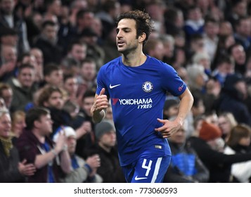LONDON, UK - Decemebr 5, 2017: Cesc Fabregas pictured during the UEFA Champions League Group C game between Chelsea FC and Atletico Madrid at Stamford Bridge Stadium.