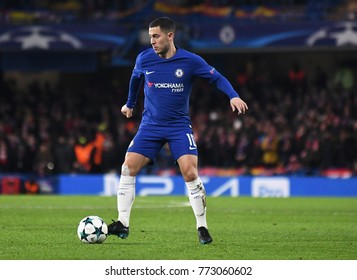 LONDON, UK - Decemebr 5, 2017: Eden Hazard pictured during the UEFA Champions League Group C game between Chelsea FC and Atletico Madrid at Stamford Bridge Stadium.