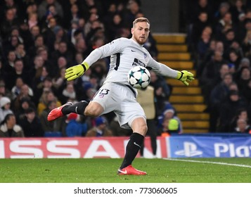 LONDON, UK - Decemebr 5, 2017: Jan Oblak pictured during the UEFA Champions League Group C game between Chelsea FC and Atletico Madrid at Stamford Bridge Stadium.