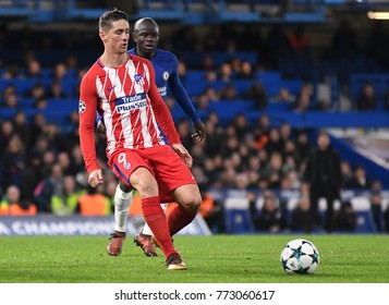 LONDON, UK - Decemebr 5, 2017: Fernando Torres pictured during the UEFA Champions League Group C game between Chelsea FC and Atletico Madrid at Stamford Bridge Stadium.