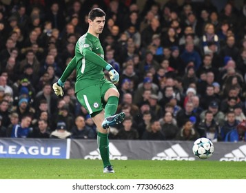 LONDON, UK - Decemebr 5, 2017: Thibaut Courtois pictured during the UEFA Champions League Group C game between Chelsea FC and Atletico Madrid at Stamford Bridge Stadium.