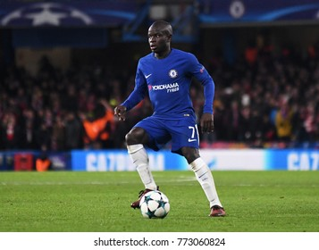 LONDON, UK - Decemebr 5, 2017: N'Golo Kante pictured during the UEFA Champions League Group C game between Chelsea FC and Atletico Madrid at Stamford Bridge Stadium.