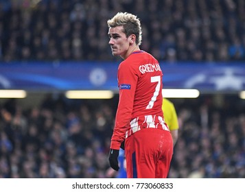LONDON, UK - Decemebr 5, 2017: Antoine Griezmann pictured during the UEFA Champions League Group C game between Chelsea FC and Atletico Madrid at Stamford Bridge Stadium.