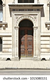London, UK -  door to The Exchequer, also known as Her Majesty's Treasury building.