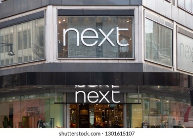 London, UK England - January 27 2019: Next brand logo and store front at Oxford street in London. Editorial use.