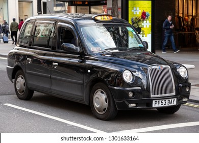 London, UK England - January 27 2019: Black cab taxi, or hackney carriage. by The London Taxi Company. Editorial use.