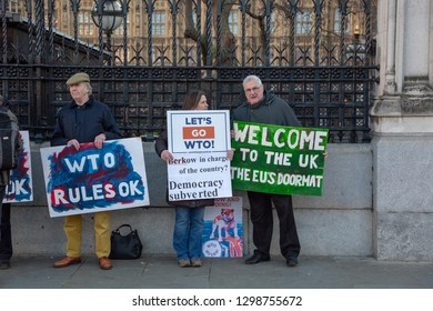 London, UK, England - January 28 2019:Pro-Brexit protesters outside the  Parliament in Westminster, London.WTO protests. British citizens against EU
