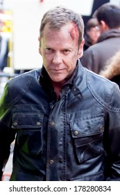 LONDON, UK - FEB 01:Keifer Sutherland is spotted filming scenes from US drama 24 in London on the Feburary, 2014 in London, UK