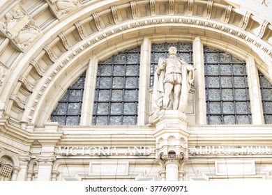 LONDON, UK - FEB 09, 2016: Architectural details of entrance of Victoria and Albert Museum (1852) in London. Victoria and Albert Museum - world's largest museum of decorative arts and design.