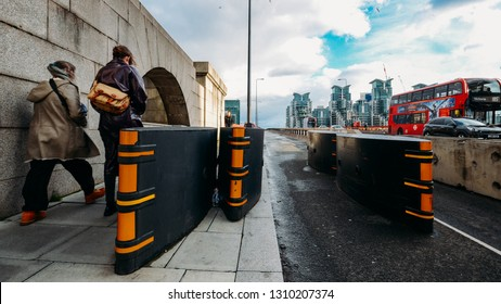 London, UK - Feb 10, 2019: Anti terrorism safety barriers on Vauxhall Bridge, London UK