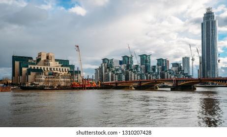 London, UK - Feb 10, 2019: Exterior of Secret Intelligence Service, SIS, MI6 building in London