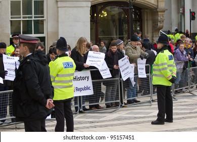 LONDON, UK - FEB. 14: Anti Royal protesters gather in London on Feb 14, 2012 in London, UK