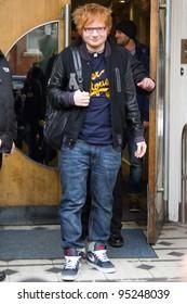 LONDON, UK - FEB. 15: Singer Ed Sheeren leaves the BBC Radio 1 Studios in London on the Feb 15, 2012 in London, UK