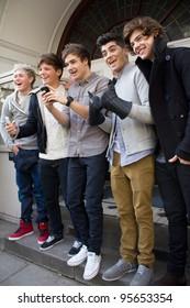 LONDON, UK - FEB. 20: Boyband One Direction lark around at the BBC Maida Vale Studios in London on the Feb 20, 2012 in London, UK
