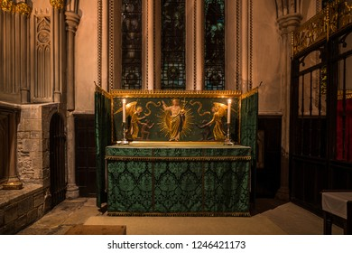 LONDON, UK - FEBRUARY 01, 2017: Interior view of Southwark Cathedral. Built in Gothic style between 1220 and 1420 it has been a place of Christian worship for more than 1000 years