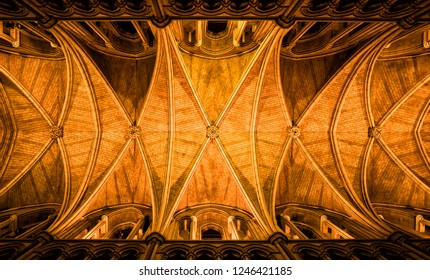 LONDON, UK - FEBRUARY 01, 2017: View of ceiling in Southwark Cathedral. Built in Gothic style between 1220 and 1420 it has been a place of Christian worship for more than 1000 years