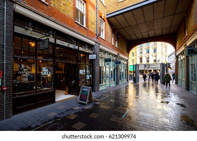 LONDON, UK - FEBRUARY 04, 2017; Retail trendy shop between Shoreditch and Brick Lane Market
