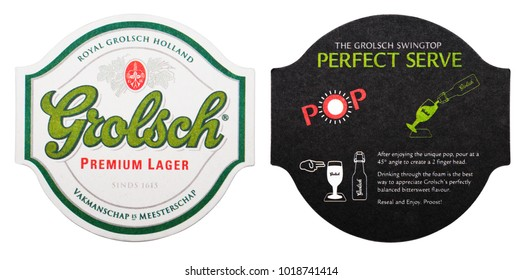 LONDON, UK - FEBRUARY 04, 2018: Grolsch premium lager beer original beermat coaster isolated on white background