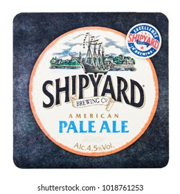 LONDON, UK - FEBRUARY 04, 2018: Shipyard pale ale beermat coaster isolated on white background