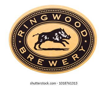 LONDON, UK - FEBRUARY 04, 2018: Ringwood Brewery beermat coaster isolated on white background
