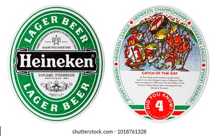 LONDON, UK - FEBRUARY 04, 2018: Heineken lager beer beermat coaster isolated on white background