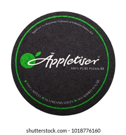 LONDON, UK - FEBRUARY 04, 2018: Appletiser original coaster isolated on white background