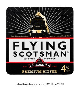 LONDON, UK - FEBRUARY 04, 2018: Flying Scotsman caledonian premium bitter beermat coaster isolated on white background