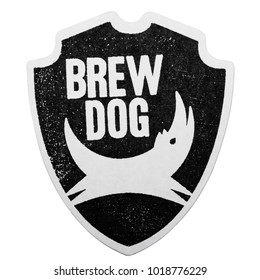 LONDON, UK - FEBRUARY 04, 2018: Brewdog craft beer original beermat coaster isolated on white background