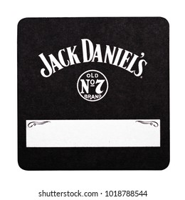 LONDON, UK - FEBRUARY 04, 2018: Jack Daniel's original beermat coaster isolated on white background