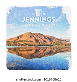 LONDON, UK - FEBRUARY 04, 2018: Jennings original beermat coaster isolated on white background