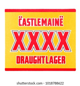 LONDON, UK - FEBRUARY 04, 2018: Castelmaine draught lager original beermat coaster isolated on white background