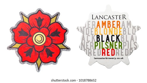 LONDON, UK - FEBRUARY 04, 2018: Lancaster brewery original beermat coaster isolated on white background