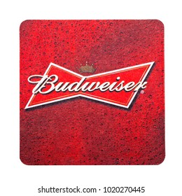 LONDON, UK - FEBRUARY 04, 2018: Budweiser 1664 Beer beermat coaster isolated on white background
