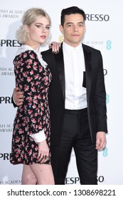 LONDON, UK. February 09, 2019: Lucy Boynton and Rami Malek arriving for the 2019 BAFTA Film Awards Nominees Party at Kensington Palace, London.Picture: Steve Vas/Featureflash