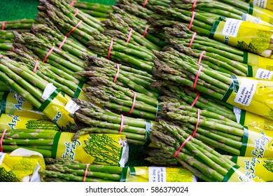 London, UK - February 10, 2017 -  Fresh asparagus on display at Borough Market