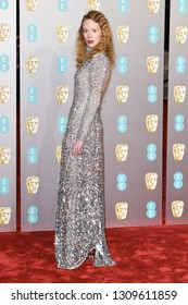LONDON, UK. February 10, 2019: Zoe Boyle arriving for the BAFTA Film Awards 2019 at the Royal Albert Hall, Londo.