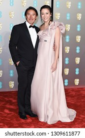 LONDON, UK. February 10, 2019: Jimmy Chin & Elizabeth Chai Vasarhelyi arriving for the BAFTA Film Awards 2019 at the Royal Albert Hall, Londo.