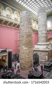 London / UK - February 10, 2019 - The cast of Trajan's Column had to be split in two to be able to fit below the roof of the Western Court of the Victoria and Albert Museum.