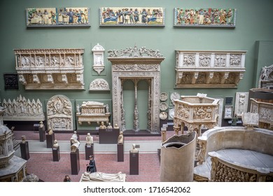 London / UK - February 10, 2019 - The East Court of the Victoria & Albert Museum features casts of Italian masterpieces and the Porta Magna of San Petronio Basilica in Bologna by Jacopo della Quercia.