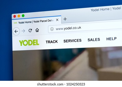 LONDON, UK - FEBRUARY 10TH 2018: The homepage of the official website for Yodel - the delivery service company in the UK, on 10th February 2018.